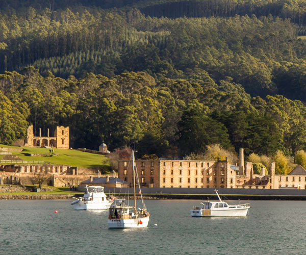 Port Arthur is a former convict settlement on the Tasman Peninsula that now is a popular touristic site.