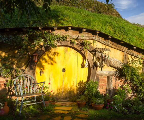 Hobbiton Movie Set and Farm is outdoor movie filming set for Lord of the Rings trilogy and The Hobbit